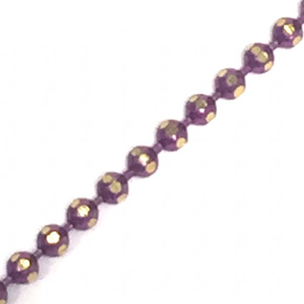 1.5mm faceted coloured ball chain - pink / brass
